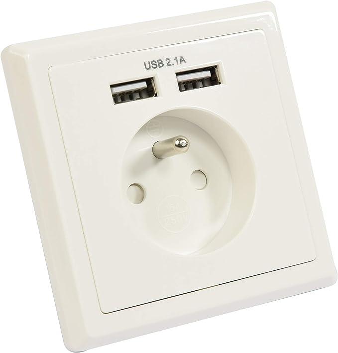 GEFOM 400250 Prise encastrable usb, Blanc: : Bricolage