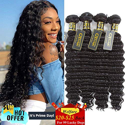 QTHAIR 10a Brazilian Virgin Hair Deep Wave Hair Extensions(16