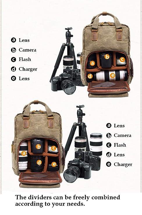Mochila de Lona para cámara réflex Digital, Gran Capacidad ...