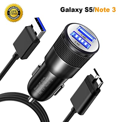 JOMOQ Replacement Car Charger Compatible for Samsung Galaxy S5/note3, Ultra Fast Dual-Port Charger Adapter and USB Charger for Galaxy S5/Note 3