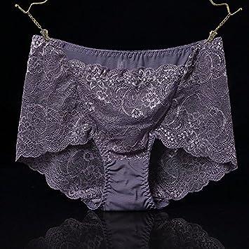 Rey&Qing Gran Panty Pantalón Con Cintura Transpirable Fat Ladies Ropa Interior Femenina,M,Gris