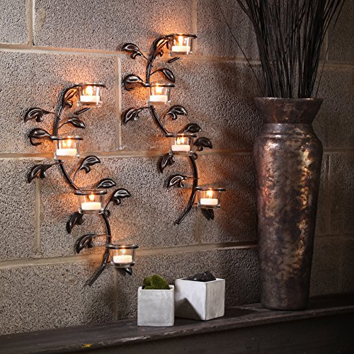 Hosley's Leaf 16-Inch Candle Holder Wall Sconce Plaque with Tea Lights (Set of 2)