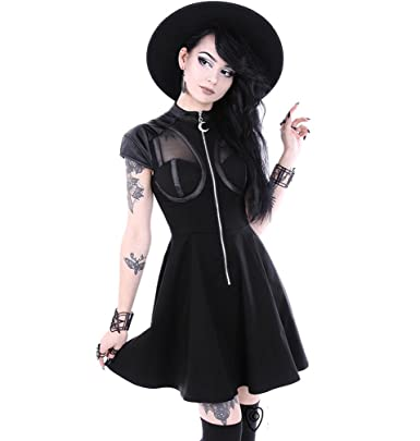 00c34a0d7638d Restyle Clothing Future Goth Dress - Gothic Dress, Moon Zipper:  Amazon.co.uk: Clothing