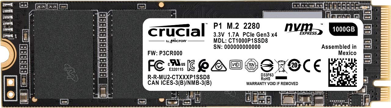 Crucial P1 1TB 3D NAND NVMe PCIe M.2 SSD - CT1000P1SSD8 by Crucial