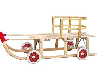 Roll trineo con madera respaldo – El Trineo con ruedas para uso en Alquitrán