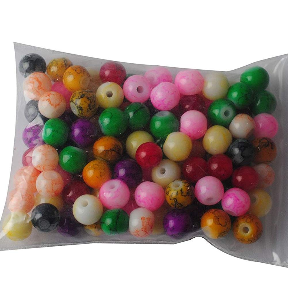 YaptheS 100 beautiful cobblestone beads stained glass beads marble effect bulk colored assorted beads jewellery made of wooden beads a variety of loose round bead beads necklaces beads craftsmanship bracelets and more in a variety of colors mixed 8