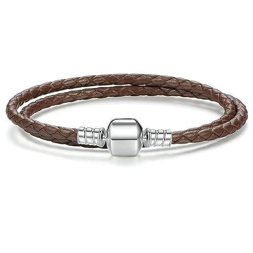 9f2fc3300 Image Unavailable. Image not available for. Color: Charm Buddy 41cm 20cm  Brown Leather Double Wrap Pandora Style Bracelet ...