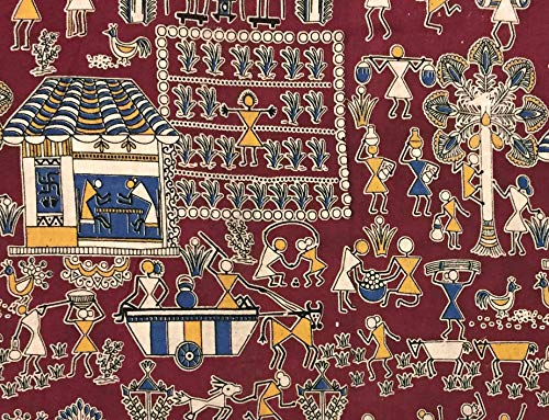 Cotton Fabric for Craft Bulletin Board Sewing Pillows - Indian Block Print Kalamkari 1 Yards by Craftbot