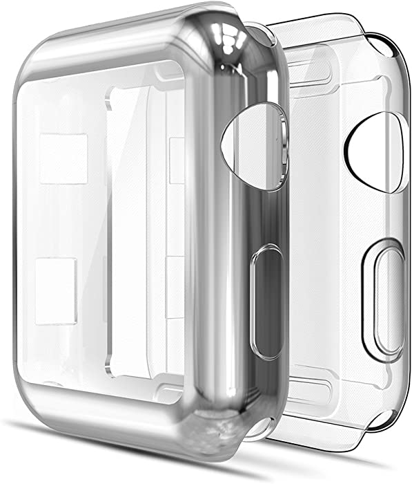 Simpeak Soft Screen Protector Bumper Case Compatible with Apple Watch 38mm Series 2 Series 3, Pack of 2, All-Around, Clear+Plated Silver