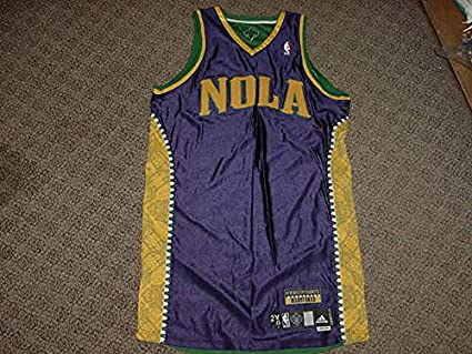 700c695cd Image Unavailable. Image not available for. Color  Blank Mardi Gras Jersey  New Orleans Hornets 2010-2012 Mardi Gras Game Worn Jersey