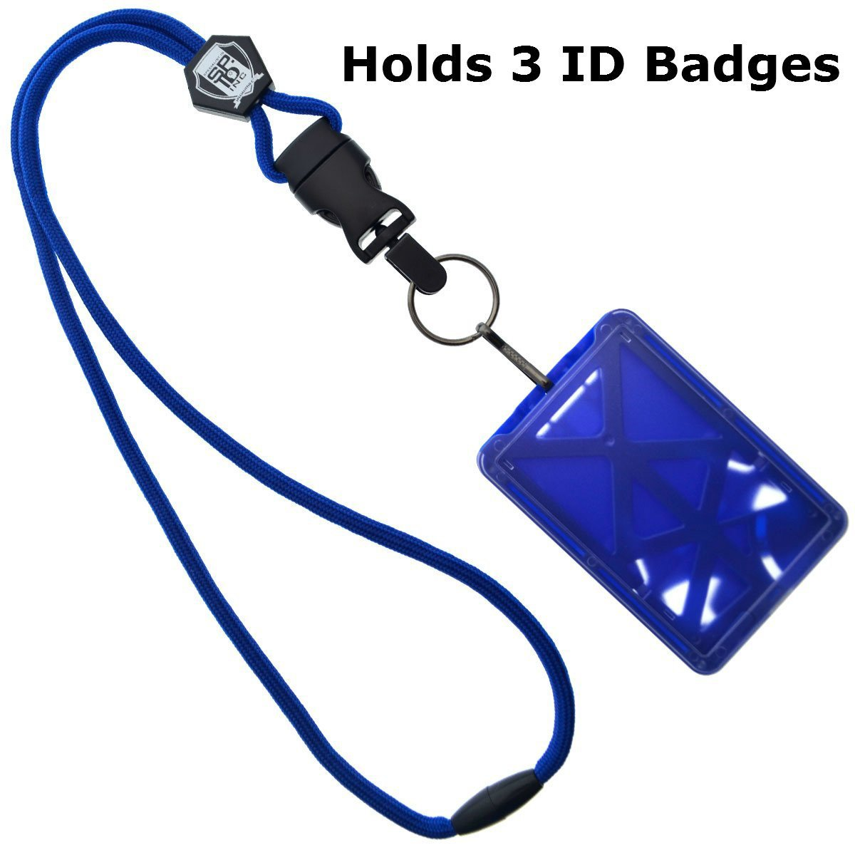 Top Loading THREE ID Card Badge Holder with Heavy Duty Lanyard w/Detachable Metal Clip and Key Ring by Specialist ID, Sold Individually (One Holder / 3 Cards Inside) (Royal Blue) SPID-9070