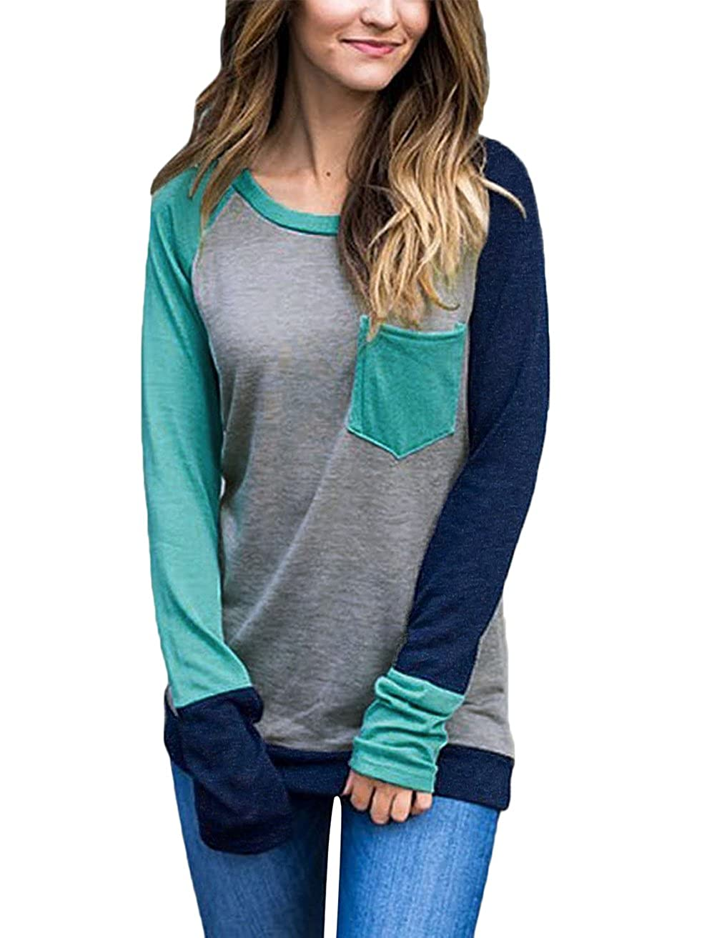 Women's Soft Color Block Baseball Long Sleeve Pullover Tunic Top T-Shirts Blouses Top 022*USFBAAM00062[USEM]