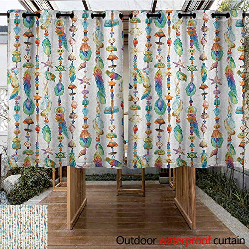 - AndyTours Outdoor Grommet Window Curtain,Feather,Watercolor Style Figures with Sea Shells Nautical Boho Style Chains Pendant Pattern,for Porch&Beach&Patio,K140C183 Multicolor