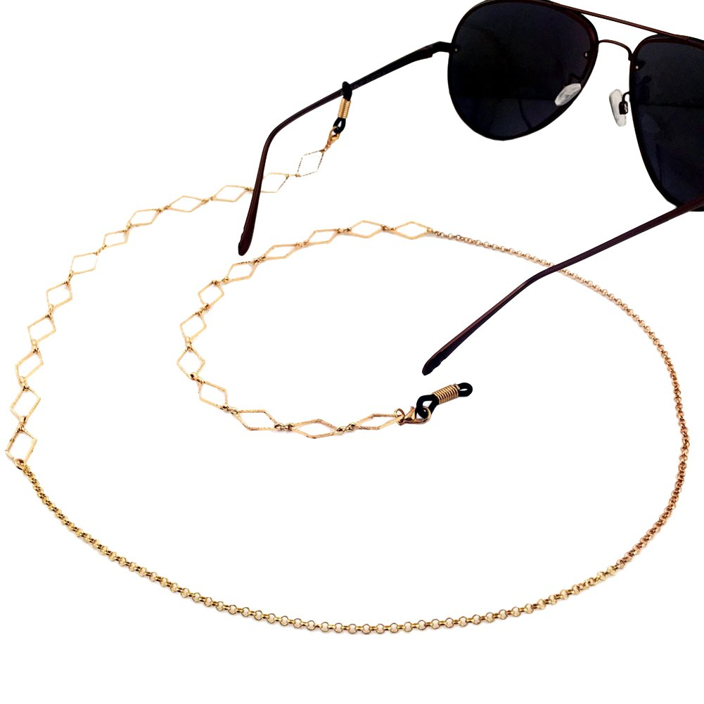 Ababalaya Vintage Strap Anti-Skid Eyeglass Cord Metal Sunglasses Thin Chain 047Gold GL006-047Gold