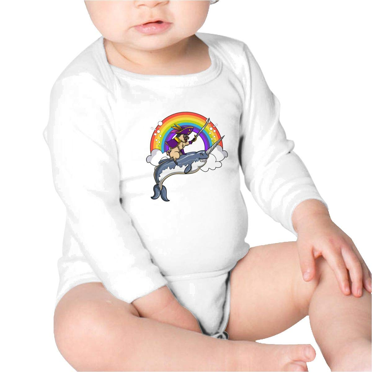 Pikaqiuleilei Pug Pirate Riding Narwhal Boys Cotton,Long Sleeve Infantile Suit