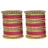 MUCH-MORE Fabulous Collection Of Multi Color Crystal Bangles Set Indian Jewellery for Women's (Carrot, 2.4)