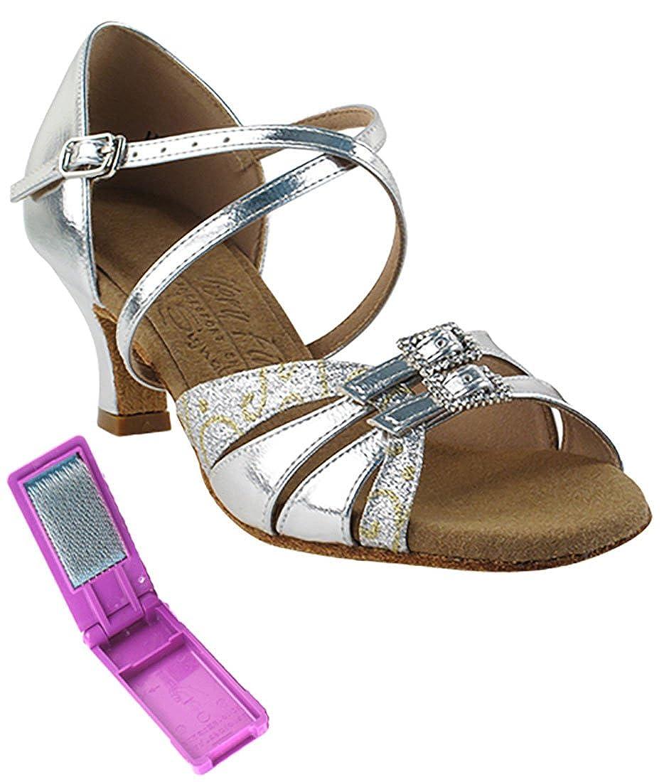 [Very Fine Dance Shoes] レディース B073GG26L6 Silver Scale-silver Leather 4.5 B(M) US