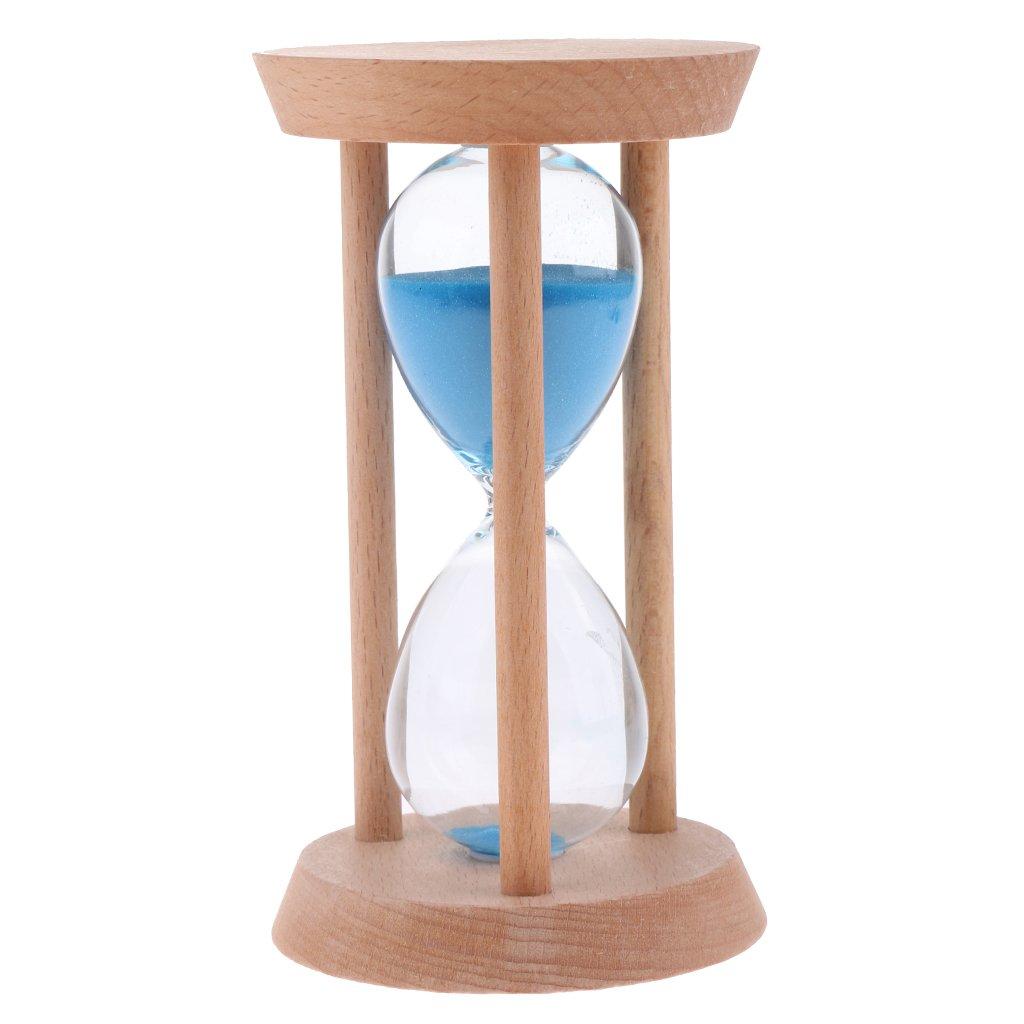 MagiDeal Legno con Clessidra Colorato Clessidre Orologio a Sabbia Timer Casa Desktop - Blu (30mins), 14 x 8 cm