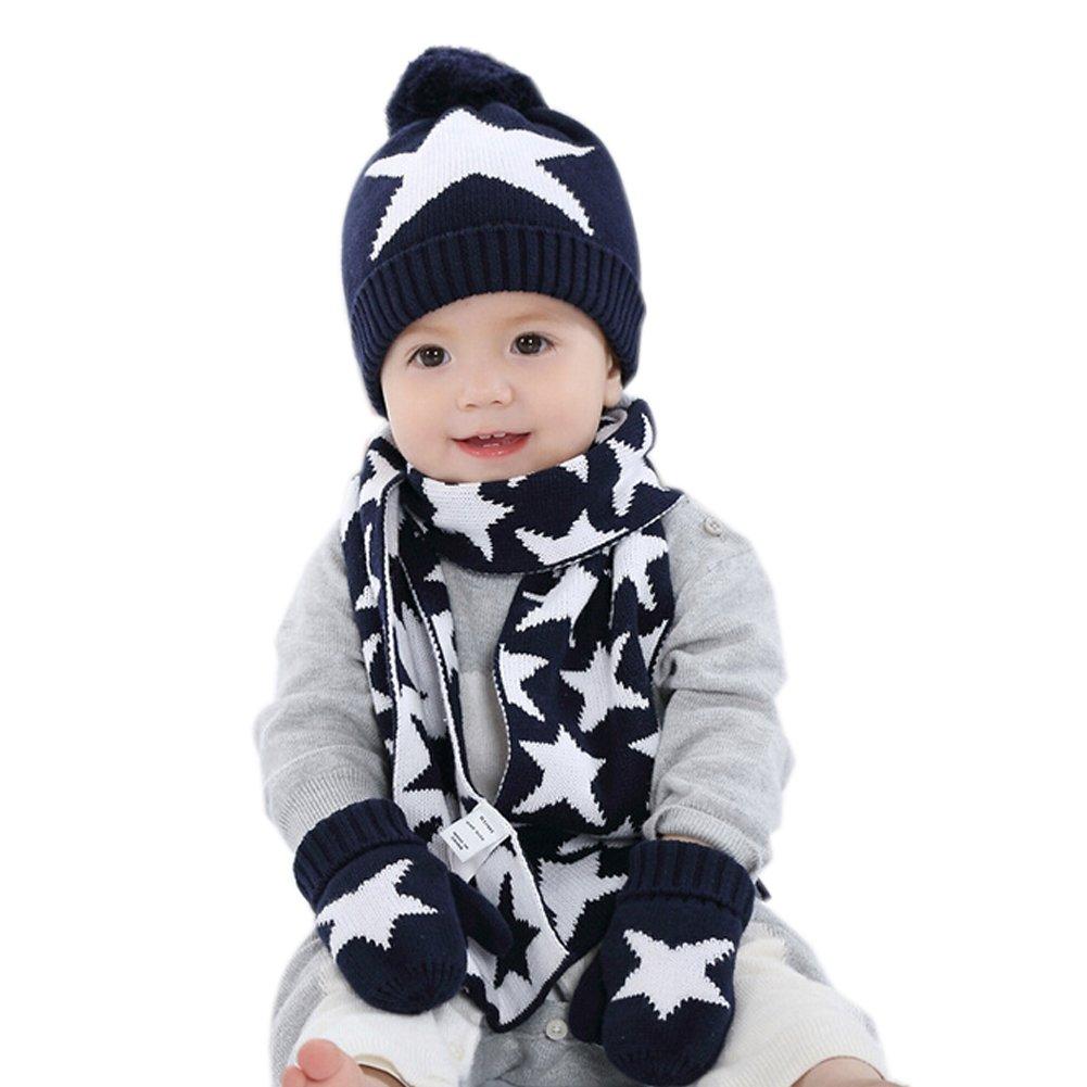 Iikids® bambini/bambine, invernale, caldo in lana con pompon-Berretto lavorato a maglia, cappello, sciarpa, cappello e guanti, per bambini, motivo: stelle, colore: blu Navy