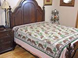 Reversible Green Printed Cotton Duvet Cover - Affordable Indian Bed Linens Queen Comforter ~ 96 Inch X 86 Inch