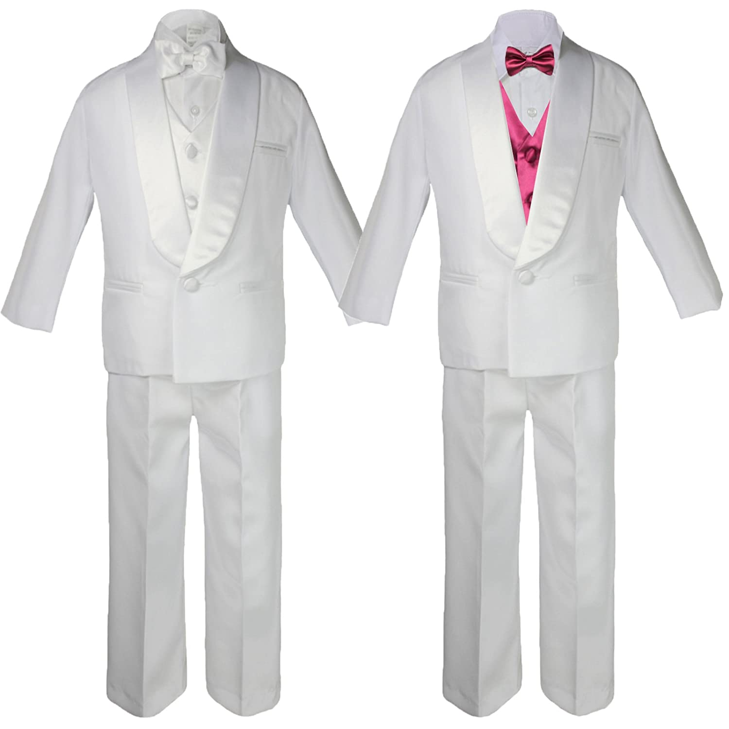 5-7pc Boy White Satin Shawl Lapel Suits Tuxedo BURGUNDY Satin Bow Necktie Vest
