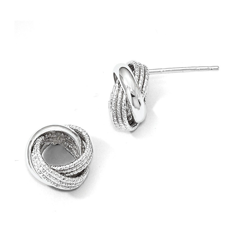 Perfect Jewelry Gift Leslie's 14k White Gold Polished Textured Love Knot Earrings