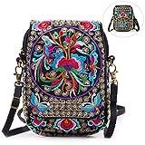 Embroidery Flowers Canvas Crossbody Bag, Women Messenger Bag, Cellphone Pouch Purse