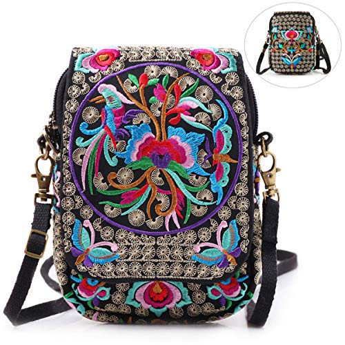 Embroidery Flowers Canvas Crossbody Bag Women Messenger Bag Cellphone Pouch Purse