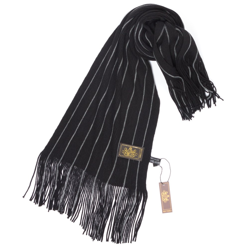 Rio Terra Men's Knitted Scarf, Designer Scarves for Winter Fall Fashion, Classic Pinstripe