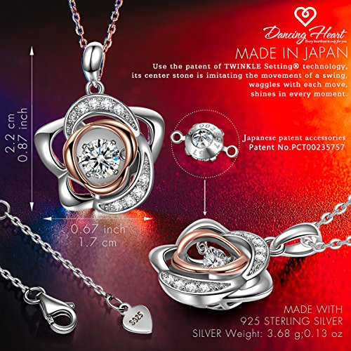 DANCING HEART Rose Lover 925 Sterling Silver Necklace Best for Her Dancing Stone Necklace Series Fine Jewelry Hypoallergenic with Gifted Package – You are My Rose
