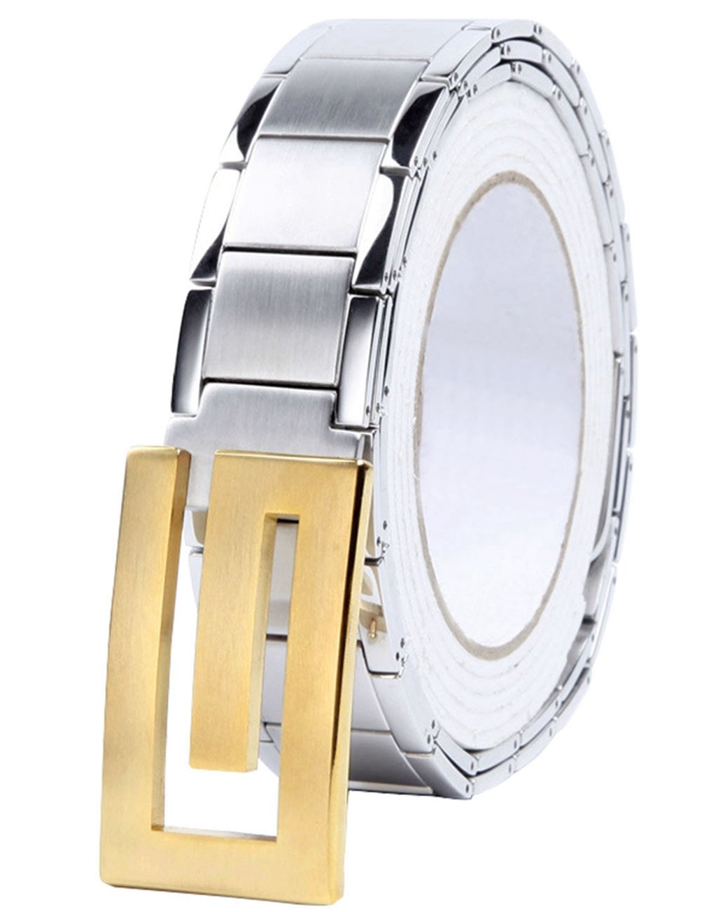 Menschwear Men's Stainless Steel Belt Slide Buckle Adjustable 32mm 146 Golden 120cm