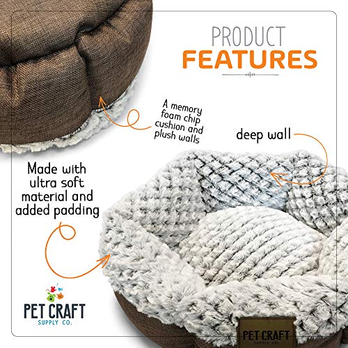 Pet Craft Supply Co. Round Machine Washable Memory Foam Comfortable Ultra Soft All Season Self Warming Cat & Dog Bed, Brown