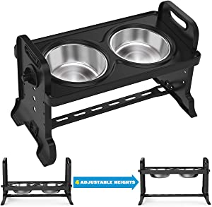 VavoPaw Adjustable Elevated Dog Bowls, 4 Adjustable Heights Dog Cat Raised Stand Feeder with Double Stainless Steel Bowls, Detachable Elevated Food & Water Dish for Cats and Small Medium Dogs, Black