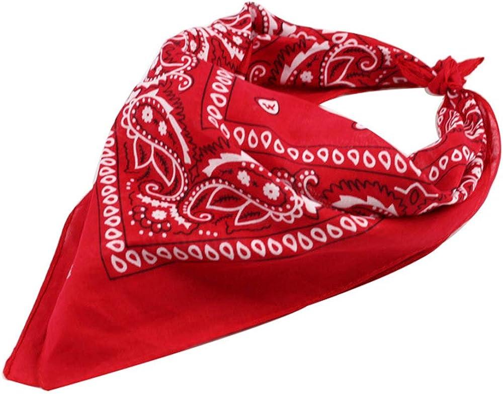 Trebien 12pcs Pañuelos Bandanas de Modelo de Paisley para Cuello/Cabeza Multicolor Múltiple para Mujer y Hombre bufanda por la cabeza unisex-100% Algodón
