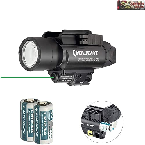Olight Baldr Pro Green Laser and LED Light Combo, 1350 Lumen CW LED Flashlight, Quick Release Mount, 2 x CR123A Batteries and LegionArms Sticker 2- Black