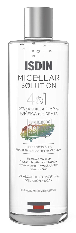 ISDIN Micelar Solution 4 en 1 Agua Micelar, Limpia, Desmaquilla, Hidrata y Tonifica, 400ml