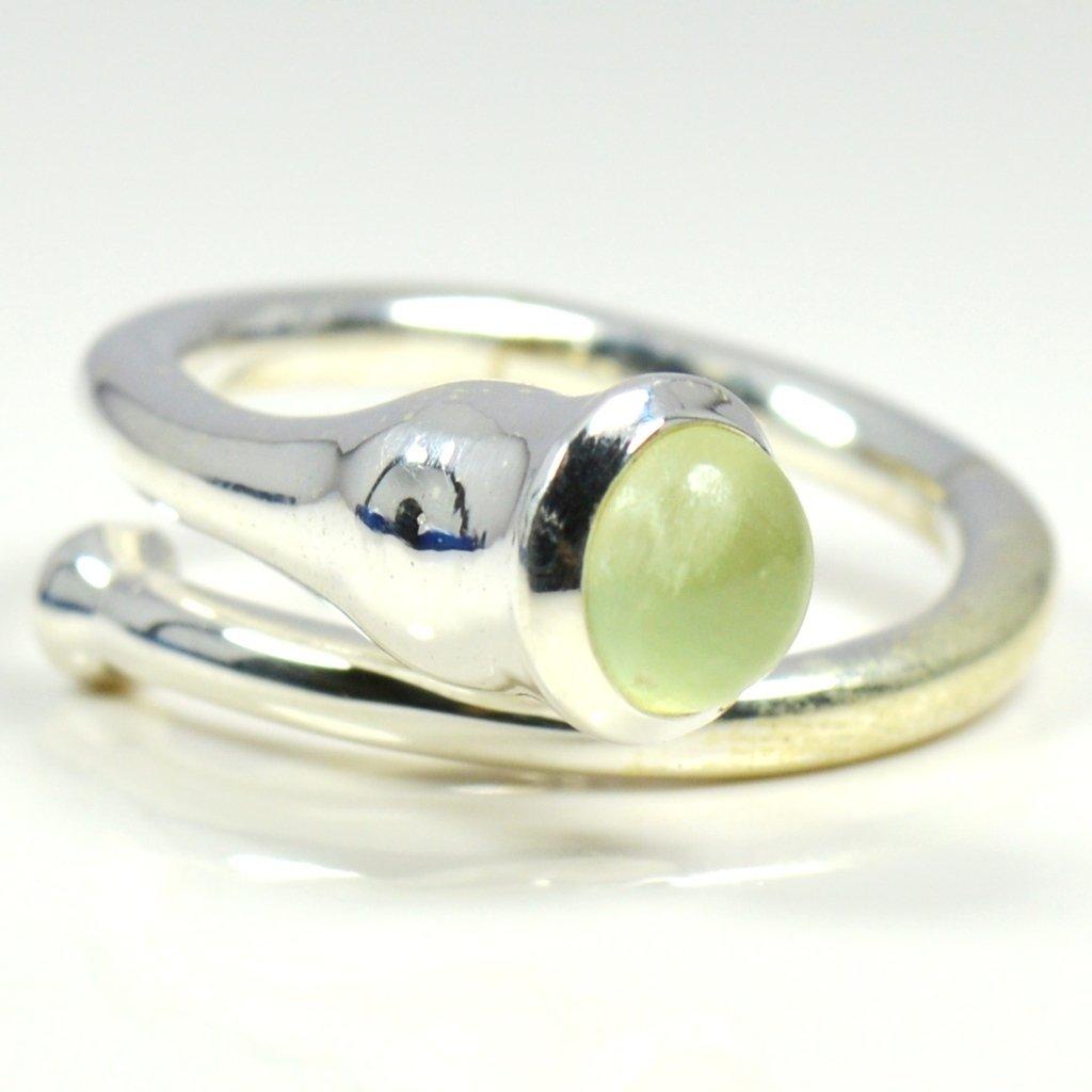 Gemsonclick Natural Green Gem Prehnite Ring Sterling Silver Handmade Jewelry Adjustable Ring Sizes 4-13