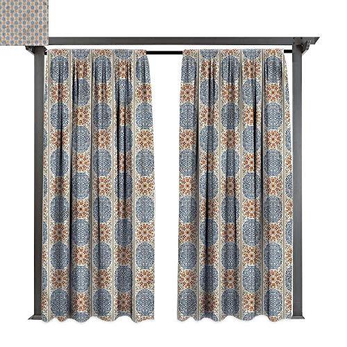 Arabesque Tier Two - cobeDecor Outdoor Curtain Vintage Antique Arabesque Damask for Lawn & Garden, Water & Wind Proof W120 xL72