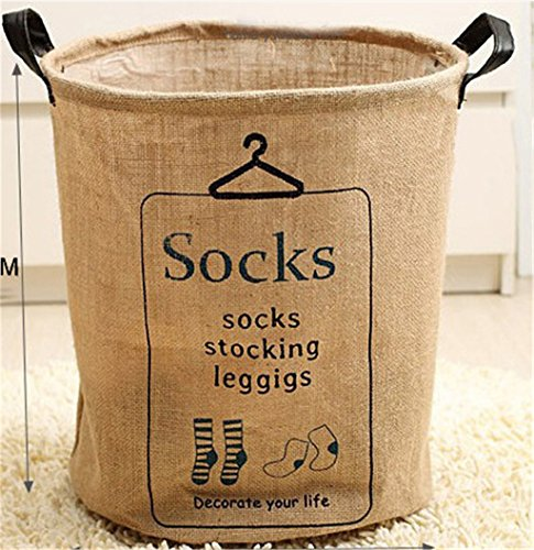 Seeshine Laundry Storage Basket Cotton & Linen Round Storage Barrels Dirty Clothes Barrels (Socks)