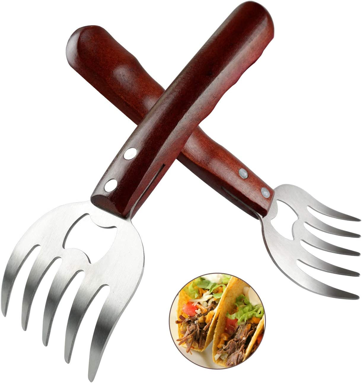 AIYUE Meat Shredding Claws Stainless Steel Pulled Pork Shredder Meat Claws for BBQ Shredding Pulling Handing Lifting & Serving Pork Turkey Chicken with Long Wood Handle (2 PCS,BPA Free)