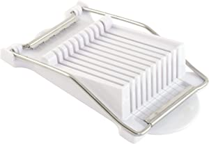 HIC Harold Import Co. 43844 HIC Luncheon Meat Slicer, Stainless Steel Wires, BPA Free, Cuts 9 Slices, White