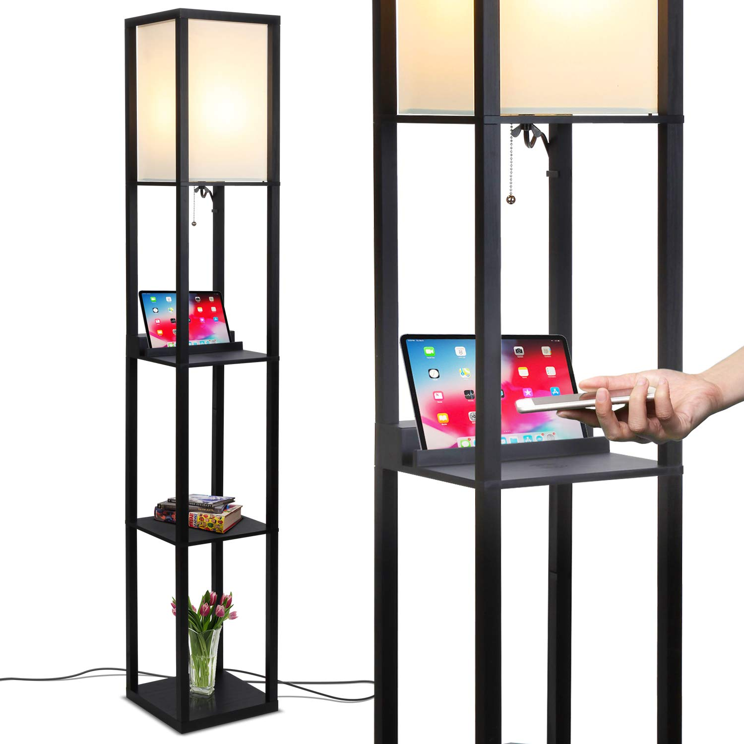 Brightech Maxwell LED Shelf Floor Lamp with Wireless Charging Pad - for Living Rooms & Bedrooms, 2 USB Ports & 1 Electric Outlet - Modern Standing Light - Asian Display Shelves - Classic Black