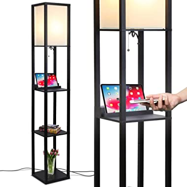 Brightech Maxwell LED Shelf Floor Lamp with Wireless Charging Pad - for Living Rooms & Bedrooms, 1 USB Port & 1 Electric Outlet - Modern Standing Light - Asian Display Shelves - Classic Black