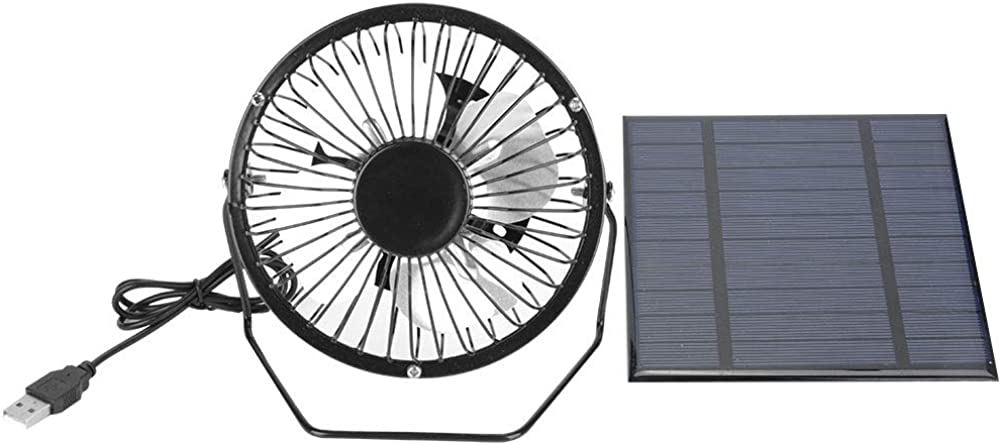 Leyeet Solar Panel Powered USB Fan 2.5W Cooling Ventilation Black for Outdoor Travel Camping Fishing Home Office