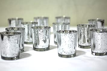 Set of 12 Silver Mercury Glass Votive Holder