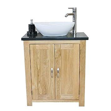 310bqcbc Solid Oak Bathroom Vanity Unit With Black Quartz Worktop