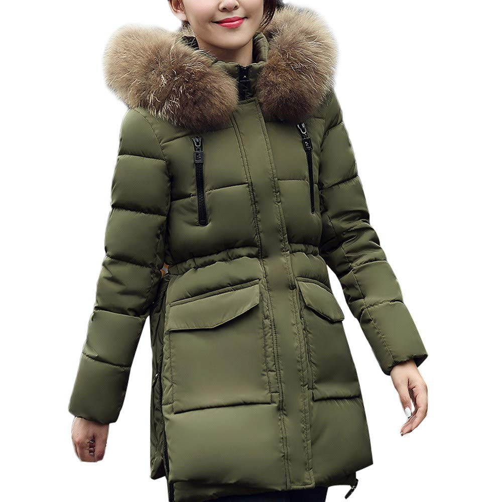 Army Green XXXLarge Simayixx Women Winter Faux Fur Hooded Thick Coats Plus Size Casual Warm Down Jackets Long Outwear Clothes