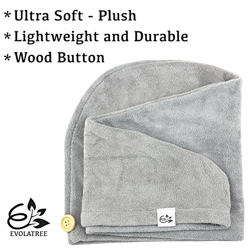 Evolatree Microfiber Hair Towel Wrap - Quick Magic Hair Dry Hat - Anti Frizz Products For Curly Hair Drying Towels - Neutral Gray by Evolatree (Image #2)