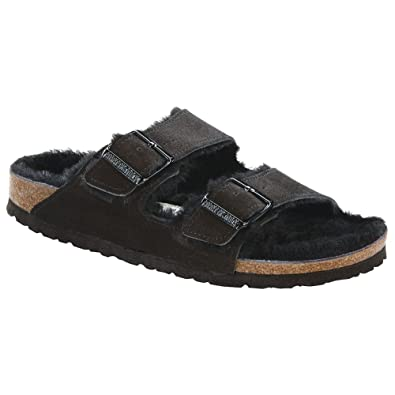 Women's Arizona Suede Double Buckle Fur Lined Shearling Sandals 4oD8PG