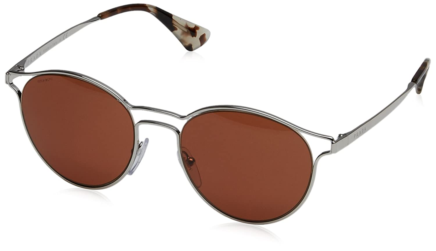 f0a16a73d4edf Prada Women s PR 62SS Sunglasses Silver   Brown 53mm at Amazon Men s  Clothing store